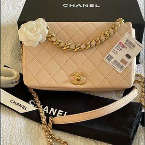 Chanel 20A Fashion Therapy Medium Flap Blush Beige